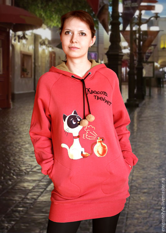 Hoodie With a cat hood, coral long hoodie-dress, Sweater Jackets, Novosibirsk,  Фото №1