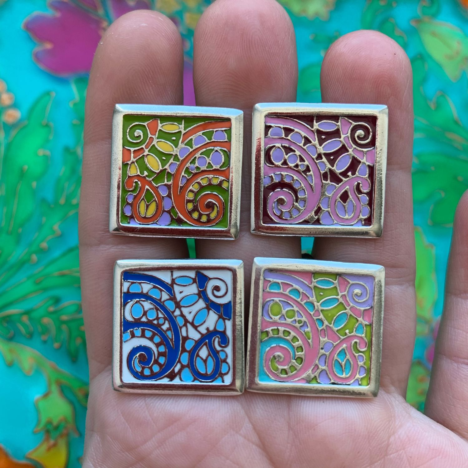 @ Cold enamel earrings and ring, paisley ornament, Jewelry Sets, Ivanovo,  Фото №1