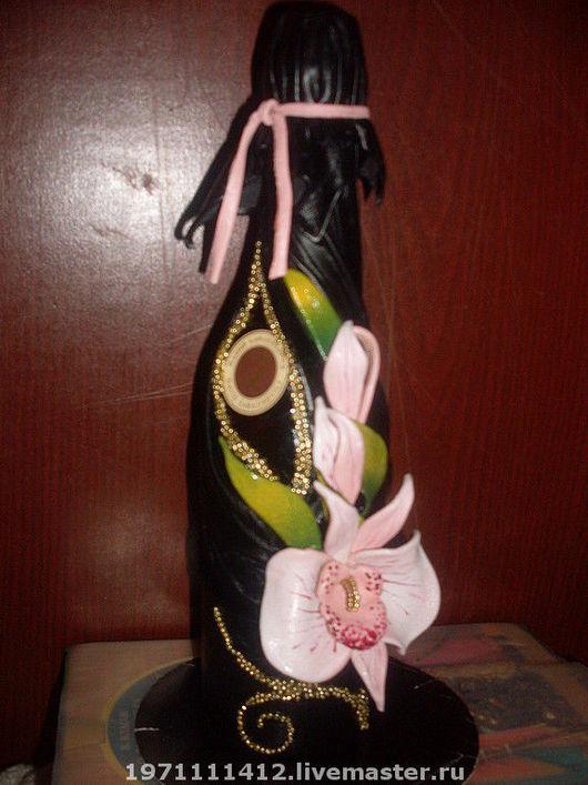 """Подарочное оформление бутылок ручной работы. Ярмарка Мастеров - ручная работа. Купить декор """"орхидея"""". Handmade. Кожа натуральная, бисер"""