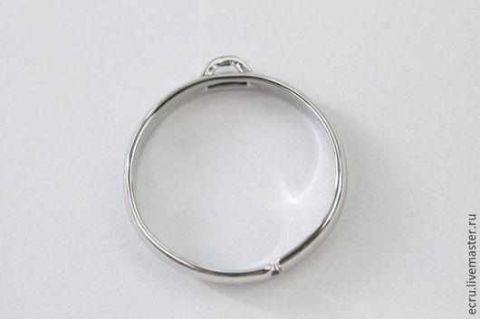 Кольцо разъемное с петелькой. Родиевое  покрытие. Южная Корея