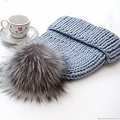 Аксессуары handmade. Livemaster - original item Knitted winter hats with a pompom made of natural fur. Handmade.