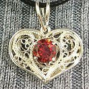 Подвеска ручной работы. Ярмарка Мастеров - ручная работа Подвеска сердце филигранное серебро с камнем. Handmade.