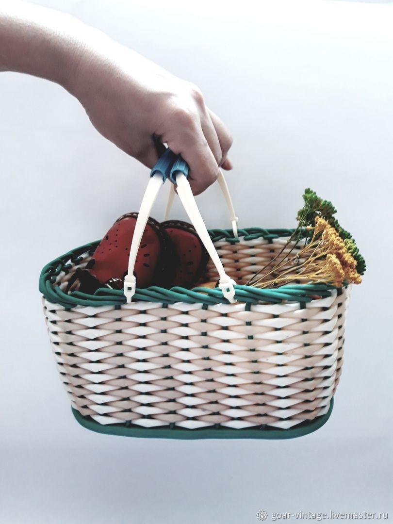 """Винтажные сумки и кошельки. Ярмарка Мастеров - ручная работа. Купить Винтаж: Плетеная, винтажная корзинка, лукошко, сумка """"За грибами"""". Handmade."""