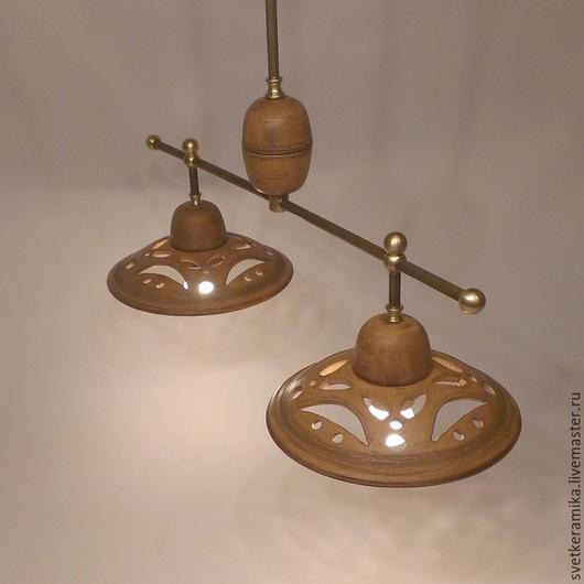 Освещение ручной работы. Ярмарка Мастеров - ручная работа. Купить Керамический светильник с двумя плафонами на каркасе. Handmade. Керамический плафон