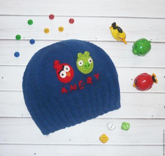 купить шапку, купить шапочку, шапка, шапочка, вязаная шапочка для мальчика, для мальчика, синий, яркая шапочка, вязаная шапочка, шапочка энгри бердс