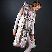 Одежда ручной работы. Ярмарка Мастеров - ручная работа Пальто с капюшоном без рукавов пальто льняное цветное легкое жилет. Handmade.