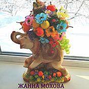 Композиции ручной работы. Ярмарка Мастеров - ручная работа Слон для интерьера с фруктами. Handmade.