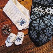Аксессуары ручной работы. Ярмарка Мастеров - ручная работа Варежки и шарфик вязаные с орнаментом Мишуткины для  Тедди. Handmade.