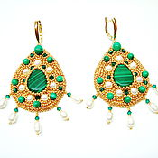 Украшения handmade. Livemaster - original item gold earrings beaded with malachite duchess catherine. Handmade.