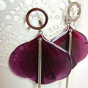 Украшения handmade. Livemaster - original item Earrings with Real Geranium Petals Burgundy Wine Eco Jewelry. Handmade.