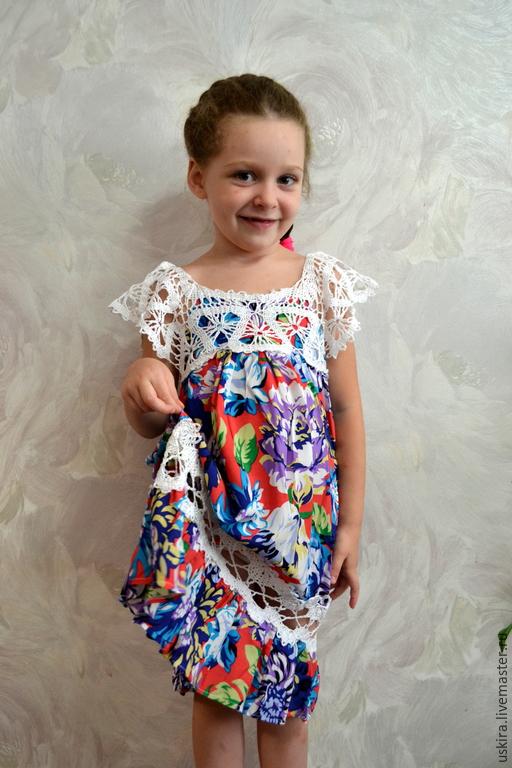"""Одежда для девочек, ручной работы. Ярмарка Мастеров - ручная работа. Купить Платье для девочки """"Цветочная фантазия брюгге"""". Handmade. Разноцветный"""