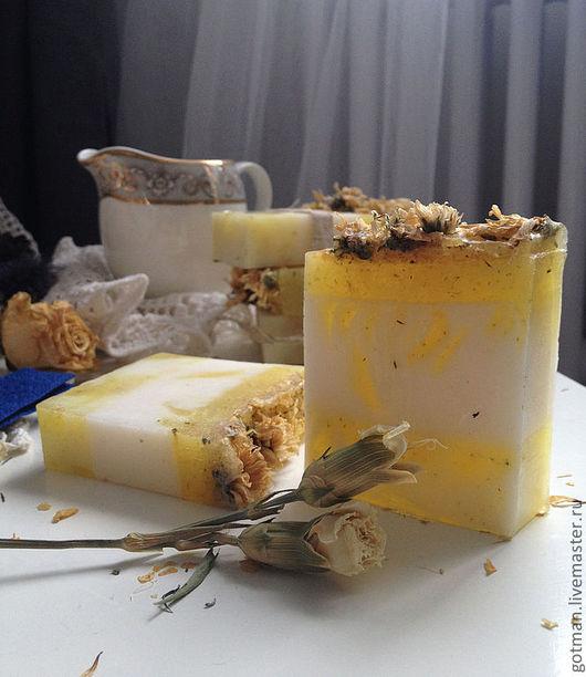 Мыло ручной работы. Ярмарка Мастеров - ручная работа. Купить медовое молочко с ромашкой. Handmade. Медовое мыло, ромашка