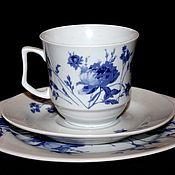 Винтаж handmade. Livemaster - original item Beautiful tea troika decorated with peonies, Ilmenau, Herman. Handmade.