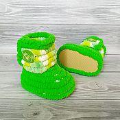 Одежда детская handmade. Livemaster - original item Children`s shoes: knitted plush boots unisex, 11 cm size 18. Handmade.