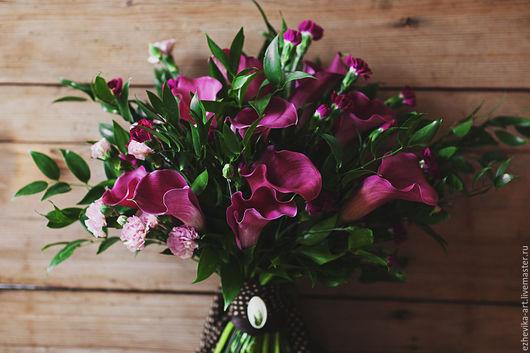 Свадебные цветы ручной работы. Ярмарка Мастеров - ручная работа. Купить Свадебный / Поздравительный букет. Handmade. Фиолетовый