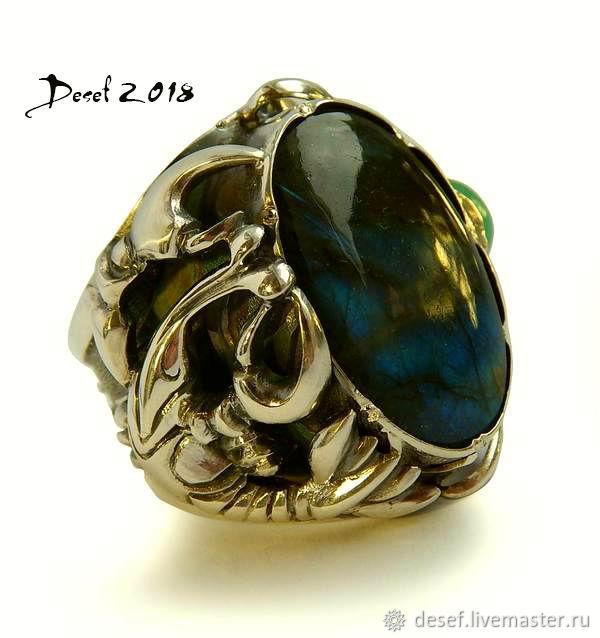 Ring 'Cancer' with Labrador and chrysoprase, Ring, Kurgan,  Фото №1