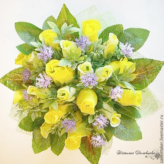 """Букеты ручной работы. Ярмарка Мастеров - ручная работа. Купить Сладкий букет """"Желтые розы"""". Handmade. Желтый, вкусный подарок"""