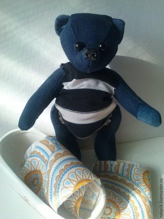 Мишки Тедди ручной работы. Ярмарка Мастеров - ручная работа. Купить мишка-джинсик. Handmade. Синий, хольнитены