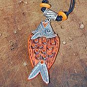 """Украшения ручной работы. Ярмарка Мастеров - ручная работа Кулон """"Оранжевая рыба"""" из полимерной глины. Handmade."""