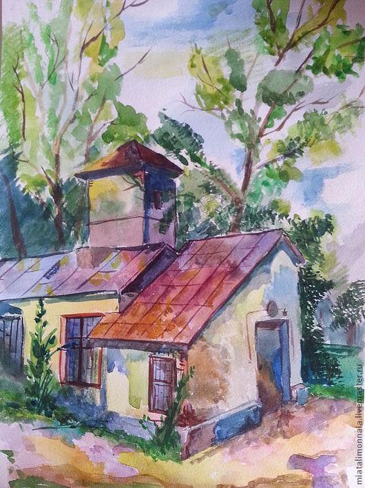Пейзаж ручной работы. Ярмарка Мастеров - ручная работа. Купить Солнечный домик. Handmade. Картина, Живопись, подарок, пейзаж, яркий