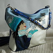 Сумки и аксессуары handmade. Livemaster - original item Leather bag shoulder Bag hobo small.The charm of winter. Handmade.