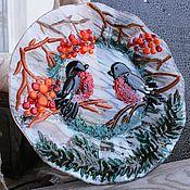 """Посуда ручной работы. Ярмарка Мастеров - ручная работа Тарелка """"Снегири"""" фьюзинг. Handmade."""