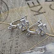 Материалы для творчества handmade. Livemaster - original item Earrings with a lock 17 mm platinum (3536). Handmade.