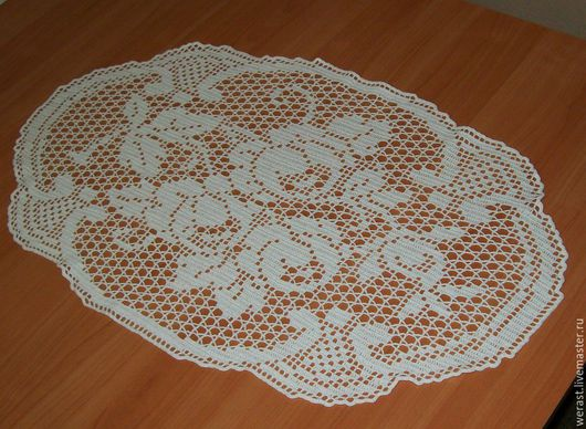 """Текстиль, ковры ручной работы. Ярмарка Мастеров - ручная работа. Купить Салфетка """"Розы для любимой"""". Handmade. Салфетка вязаная, хендмейд"""