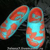 """Обувь ручной работы. Ярмарка Мастеров - ручная работа Тапочки """"Бирюза с корицей"""". Handmade."""