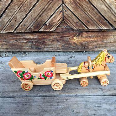 Куклы и игрушки ручной работы. Ярмарка Мастеров - ручная работа Лошадка с каретой Деревянная. Handmade.