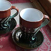Посуда ручной работы. Ярмарка Мастеров - ручная работа чайная пара #2 Зимние. Handmade.