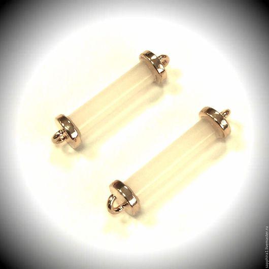 Для украшений ручной работы. Ярмарка Мастеров - ручная работа. Купить Коннектор цилиндр белый maxi. Handmade. Белый, коннектор