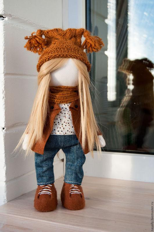 Куклы тыквоголовки ручной работы. Ярмарка Мастеров - ручная работа. Купить Интерьерная кукла Лиля. Handmade. Коричневый, ручная работа
