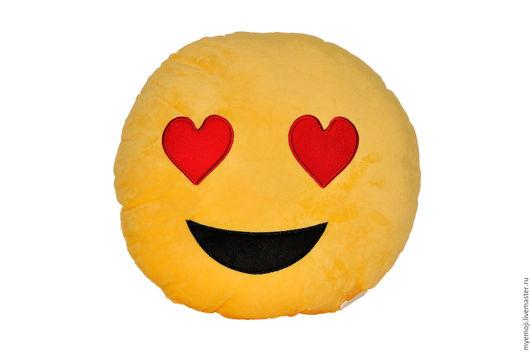 Текстиль, ковры ручной работы. Ярмарка Мастеров - ручная работа. Купить Смайлик Emoji Эмоджи. Смайл. Плюшевая подушка. Handmade.