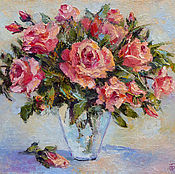Картины и панно handmade. Livemaster - original item Oil painting on canvas Roses, a bouquet of flowers in a vase. Handmade.