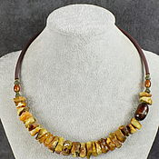 Украшения handmade. Livemaster - original item Natural Amber and Agate Necklace with Rubber Cord. Handmade.