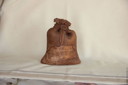 Копилки ручной работы. Ярмарка Мастеров - ручная работа. Купить мешок копилка керамика. Handmade. Коричневый, копилка, глина, обжиг