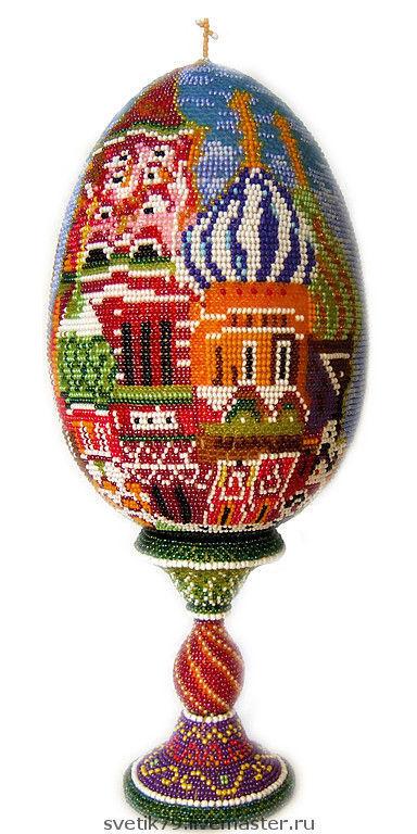 """Яйца ручной работы. Ярмарка Мастеров - ручная работа. Купить яйцо оплетённое бисерное """"Собор Василия Блаженного. Handmade."""