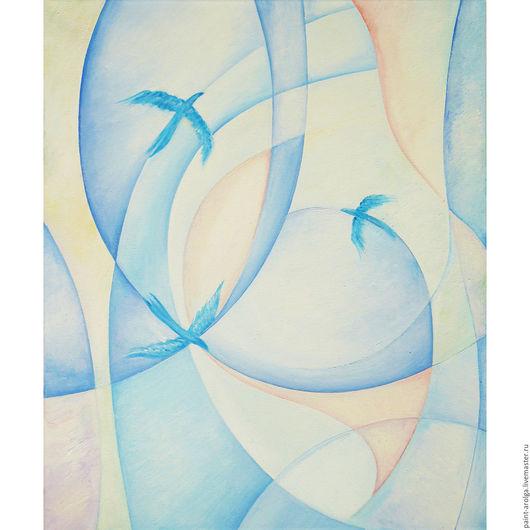Абстракция ручной работы. Ярмарка Мастеров - ручная работа. Купить Картина абстракция - синий полет. Handmade. Голубой, картина в подарок