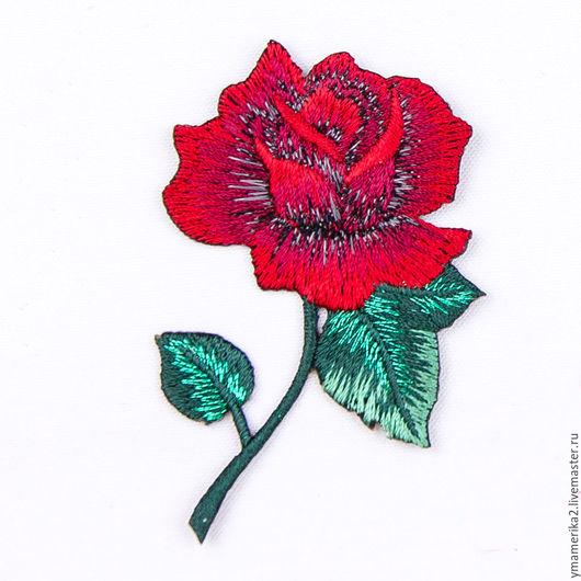 термонаклейка, термоаппликация , термозаплатка, отделка одежды, роза, красная роза, цветы 066.0064