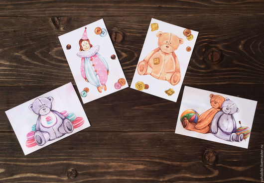 Открытки на все случаи жизни ручной работы. Ярмарка Мастеров - ручная работа. Купить Набор акварельных открыток тедди игрушки. Handmade.