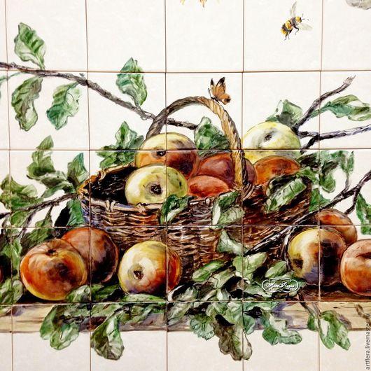Декор поверхностей ручной работы. Ярмарка Мастеров - ручная работа. Купить Фартук для кухни, панно из плитки Урожай.Яблочки.. Handmade.