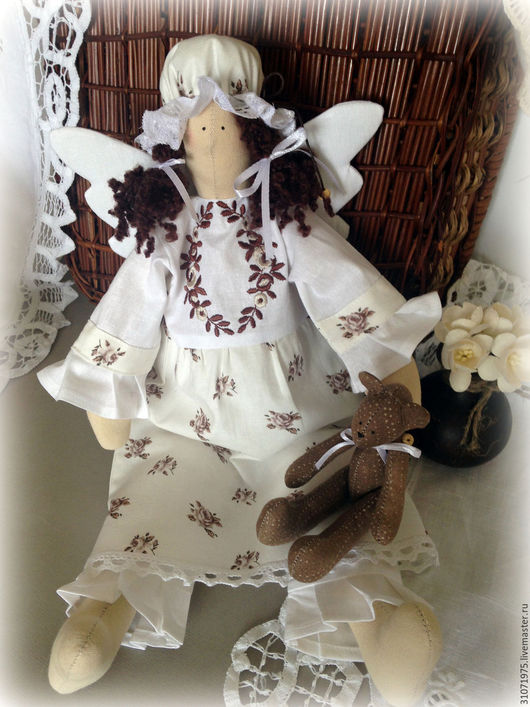 Куклы Тильды ручной работы. Ярмарка Мастеров - ручная работа. Купить Сплюшка с мишкой. Handmade. Коричневый, ангел снов