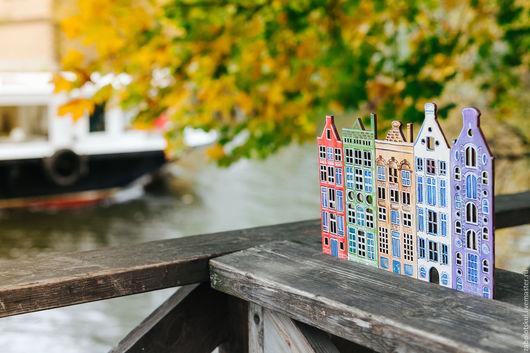 Город ручной работы. Ярмарка Мастеров - ручная работа. Купить Панно Амстердам, фанера, роспись вручную. Handmade. Комбинированный