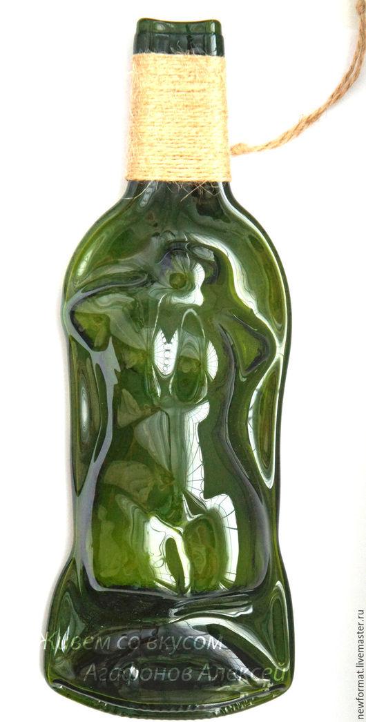 """Юмор ручной работы. Ярмарка Мастеров - ручная работа. Купить Панно из стеклянной бутылки """"Афродита"""". Handmade. Тёмно-зелёный"""