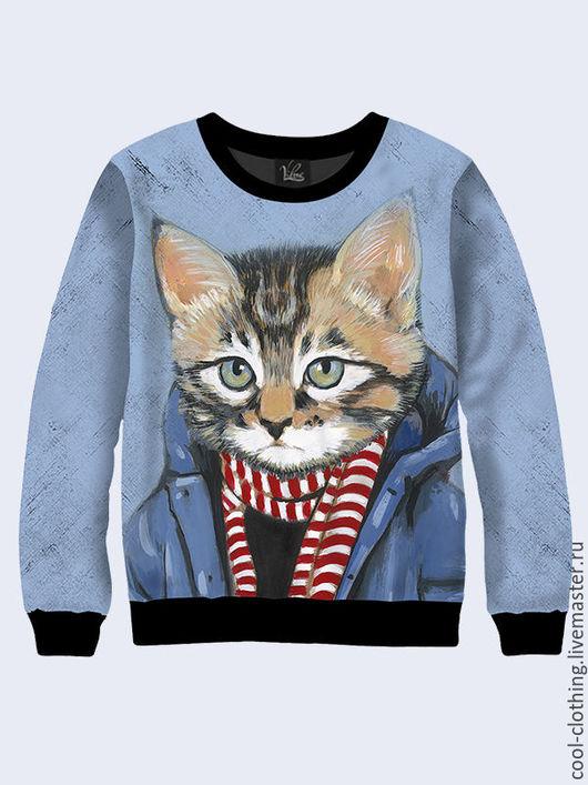 """Кофты и свитера ручной работы. Ярмарка Мастеров - ручная работа. Купить Свитшот """"Кот в шарфе"""". Handmade. Разноцветный, повседневная одежда"""
