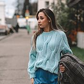 Одежда handmade. Livemaster - original item Jumpers: Women`s handmade oversize sweater in mint color. Handmade.