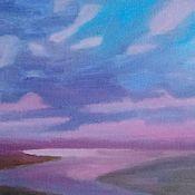 Картины и панно handmade. Livemaster - original item Lilac evening your curtain down again. Handmade.