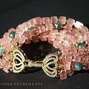 "Bead bracelet handmade. Livemaster - original item Браслет ""Розовые мечты"" - кварц, агат, цирконы. Handmade."