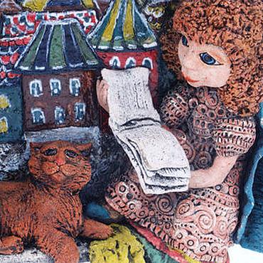 Картины и панно ручной работы. Ярмарка Мастеров - ручная работа Панно Кот и Девочка. Handmade.